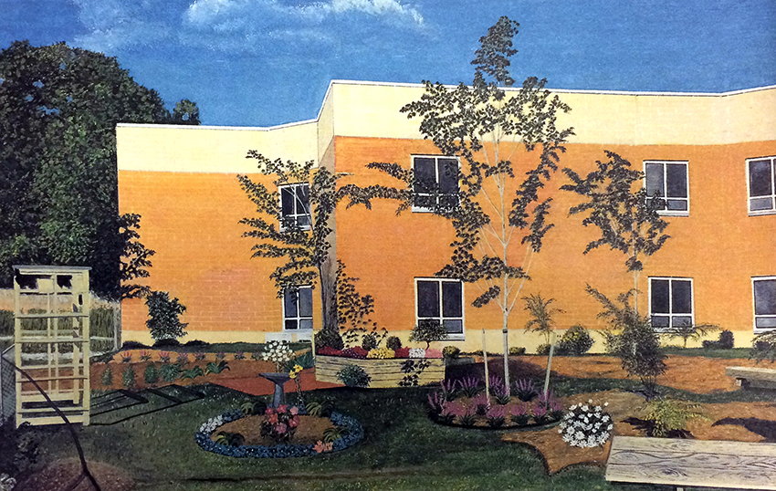 Photograph of a painting of the Lellinger Reading Garden.
