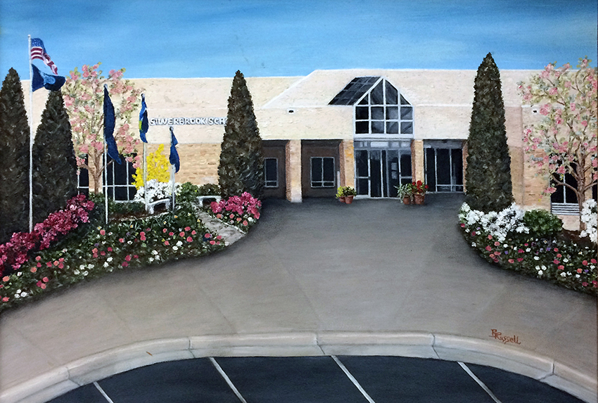 Photograph of a painting depicting the main entrance of Silverbrook Elementary School. The painting hangs in the main office.