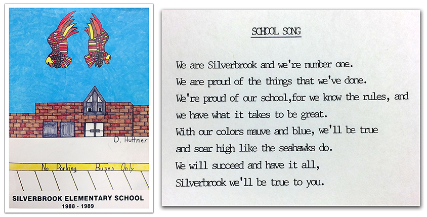 Photographs of the cover of Silverbrook's first yearbook and of a printing of Silverbrook's school song. The lyrics read: We are Silverbrook and we're number one. We are proud of the things that we've done. We're proud of our school, for we know the rules, and we have what it takes to be great. With our colors mauve and blue, we'll be true and soar high like the seahawks do. We will succeed and have it all, Silverbrook we'll be true to you.
