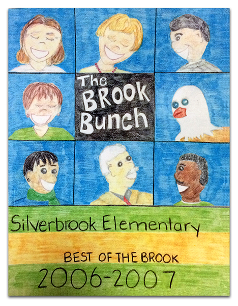Photograph of the cover of Silverbrook's 2006 to 2007 yearbook. The student artist drew pictures of several teachers and the principal.